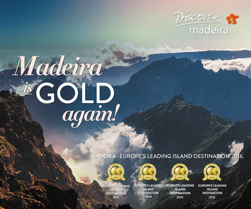 Slogan: Madeira is gold!; madeira world travel awards 2016; europe's leading island destination 2016; world's leading island destination 2016; tourism madeira; visit madeira; madeira island